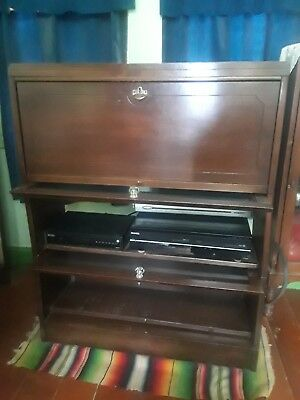 Antique Lawyer Barrister Stacking walnut Bookcase Lundstrom Mid century