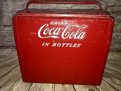 Vintage Coca-Cola Metal Cooler•Drink Coca Cola In Bottles•Rusty Corroded Old
