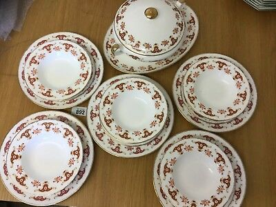 Fine Bone China Vintage Dinner Service 3 piece setting for 5 + Serving Dishes