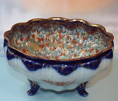 Rare Antique Japanese 1,000 Face Footed Berry Strainer Colander Kutani Flow Blue