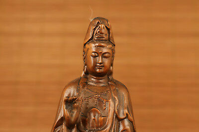 BUDDHA old Boxwood Hand Carved KWAN-YIN Statue Japanese Netsuke decoration