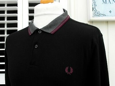 Fred Perry Black Pop Collar Long Sleeve Polo - XXL - Ska Mod Scooter Casuals