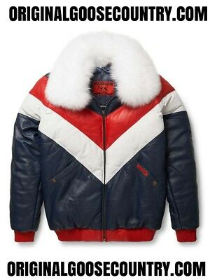 Brand New Goose County V-Bomber Jacket Red/white/blue With Fox Collar