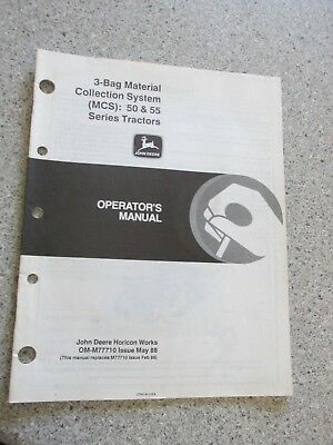 John Deere 3 bag material collection system MCS 50 55 tractors operators manual