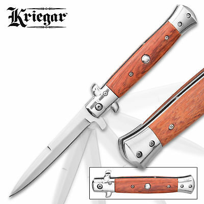 """9"""" STILETTO KRIEGAR MILANO TACTICAL WOOD SPRING ASSISTED FOLDING KNIFE Pocket"""
