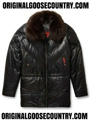 Brand New Goose County V-Bomber 3/4 Quarter Coat From 80's Black With Fox Collar