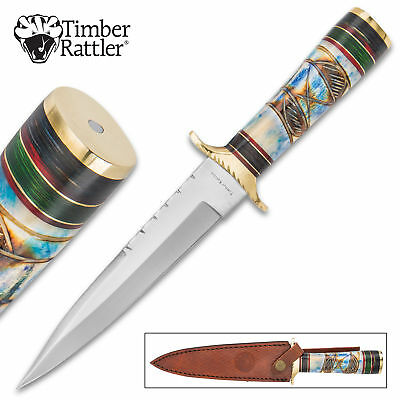 "12"" Raindance Full Tang Fixed Blade Knife Bowie Dagger Bone Wood w/ Sheath"