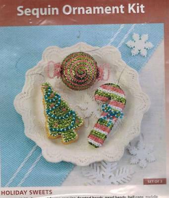Holiday Sweets Set of 3 Bead & Sequin Ornament KIT Christmas Candy Cane Cookie