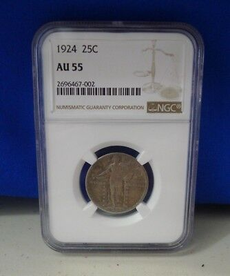 1924 25C Graded by NGC as AU55 - Gorgeous Standing Liberty Quarter