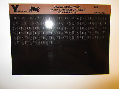 2002 Yamaha Motorcycle XV 1600 ASP ASPC Road Midnight Microfiche Part Catalog