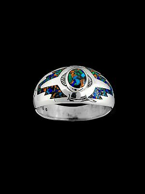 Southwest Ring with Malachite, Turquoise, Coral, and Lapis, 925 Sterling Silver