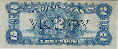 Philippines 2 Peso Victory Note **about Uncirculated** Historic Currency