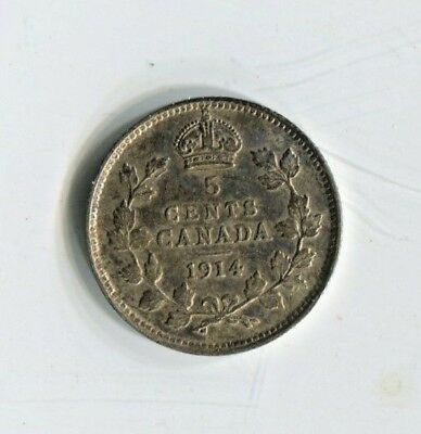 1914 Canadian Five Cent Silver Coin Very Fine (CTL1118)