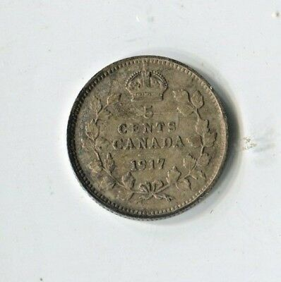 1917 Canadian Five Cent Silver Coin Very Fine (CTL1118)