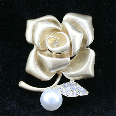 Fashion jewelry pin and pearl gold crystal diamond flower brooch