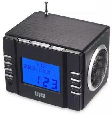 August Mb300H Mini Wooden Mp3 Stereo System And Fm Clock Radio, With Card Reader