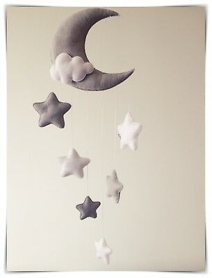 Moon and stars nursery decor/baby mobile (silver grey,white)