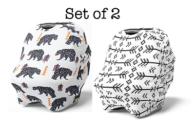 2 Pack Stretchy Multi Use Car Seat Canopy, Nursing Breastfeeding Cover, Bear