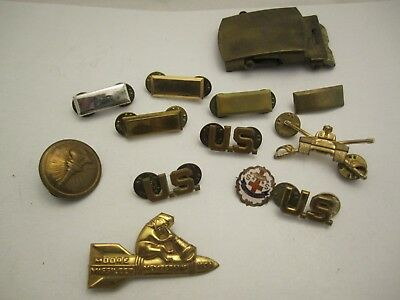 Collection/Lot of Vintage US Military brass/metal Lapel Pin Badges