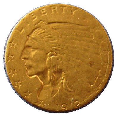 1912 Quarter Eagle, $2.50 Gold Indian Head Coin
