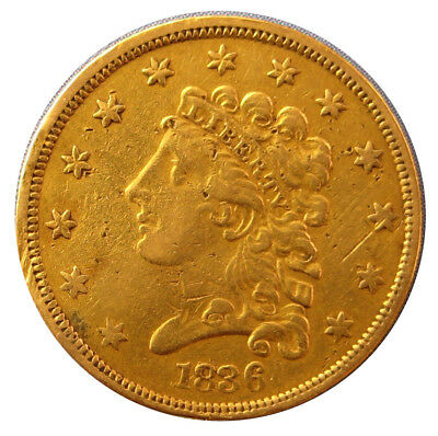 1836 Classic Head Early Gold Quarter Eagle $2.50
