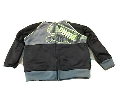 Puma Toddler Boys Track Jacket, Black Gray & Neon Green Highlights, Size 2T