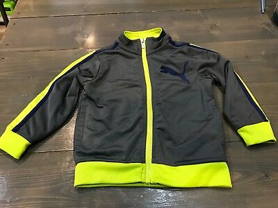 Puma Toddler Boys Track Jacket, Gray & Neon Highlights, Size 2T