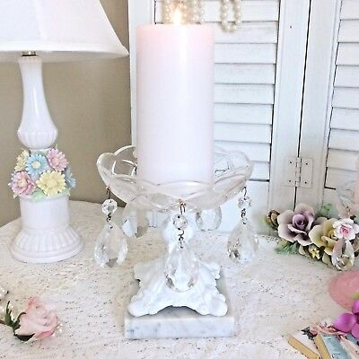 Vtg Footed COMPOTE Dish Candle Holder Ornate Metal White Marble Crystal Prisms