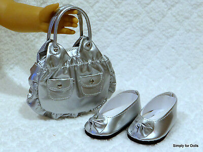 """2pc SILVER metallic DOLL SHOES & PURSE SET fits 18"""" AMERICAN GIRL DOLL"""