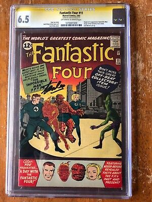Fantastic Four 11 Cgc 6.5 Ow/w Pages Ss Stan Lee Signed