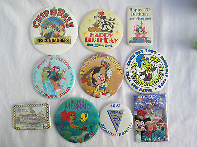 Lot of 10 Assorted Disney Pin-Back Buttons