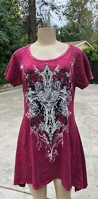 Vocal Plus tunic t shirt  cherry red graphics stones