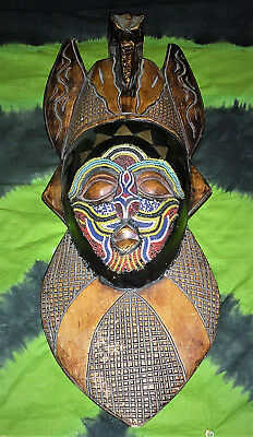 """17"""" COLOURFUL Beaded TRIBAL HEAD African ETHNIC FACE MASK WOOD wall mount statue"""