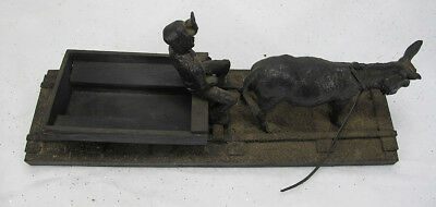 Vintage Coal Mining Donkey Pulling Cart & Miner Train Track Sculpture Statue yqz