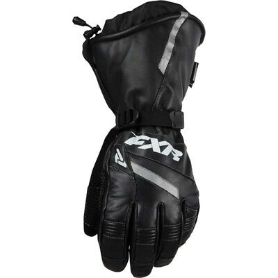 FXR LEATHER GAUNTLET COLD WEATHER WINTER SNOWMOBILE GLOVES - Black - LARGE or XL