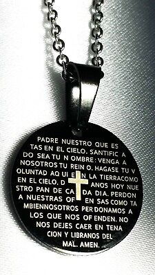 Spanish Lords Prayer Silver Cross Necklace Top Quality Jewellery For Men A051