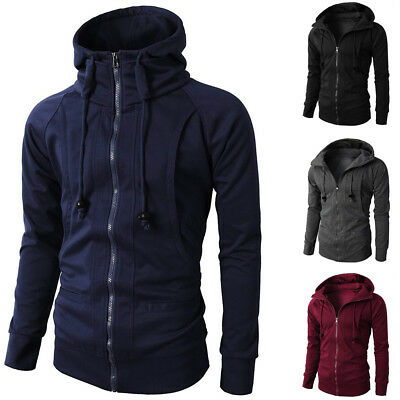 Running Jacket Coat Pullover Winter Men's Casual Sports Solid Outerwear Hoodie