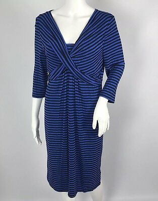 Ladies Blooming Marvellous Dress UK 14 Blue Black Stripe Maternity Mothercare
