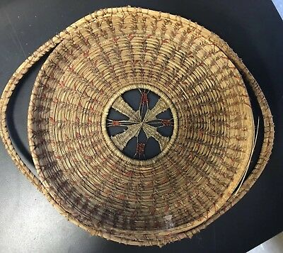 Vintage Native American Indian Likely Coushatta Antique Pine Needle Tray/Basket