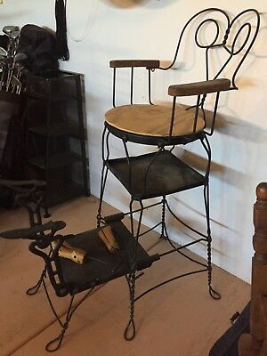 Twisted metal antique shoe shine chair