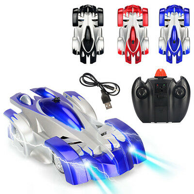 Gravity Defying RC Climbing Wall Car Racer Vehicle with LED Light Toy Xmas Gift