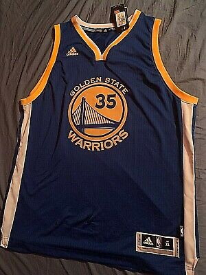 04113699a 100% Authentic Kevin Durant Adidas Warriors Away Blue Swingman Jersey Size  XL