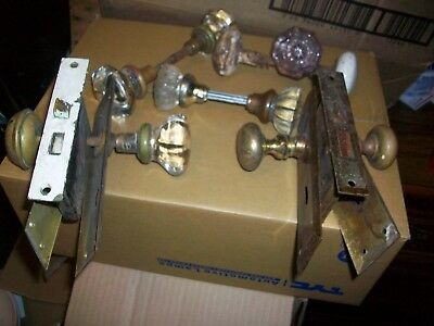Vintage door knobs and brass lock sets and brass plates