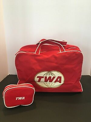 TWA RED Trans World Airlines  Carry on Red Travel Bag & Unused Toiletries kit