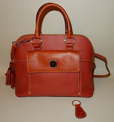 Dooney & Bourke Pebble Leather Aubrey Satchel in Terracotta