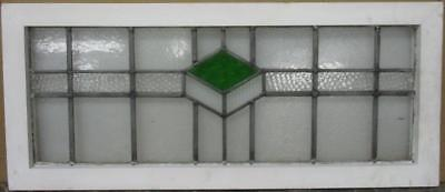 """OLD ENGLISH LEADED STAINED GLASS WINDOW TRANSOM Nice Diamond Band 34.25"""" x 14.5"""""""