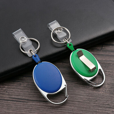 Belt Clip Badge Reel Retractable Pull Keychain ID Lanyard Name Tag Card Holder