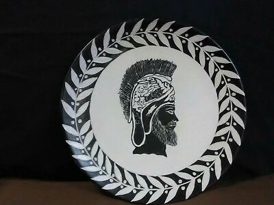 "Unique Vtg.Holland Mold Hand Painted Black/White Pottery""Greek Trojan"" Plate"