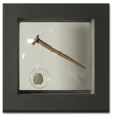 Ancient Judaean Widow's Mite and Crucifixion Period Roman Nail in Display Frame
