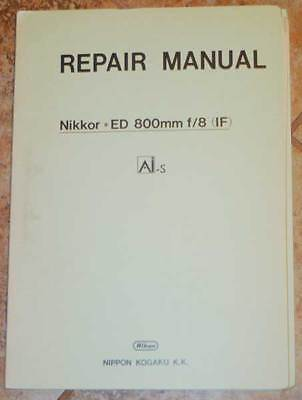 OEM Nikon Nikkor 800mm F8 IF ED AIS Original Factory Service Repair Manual AI-S